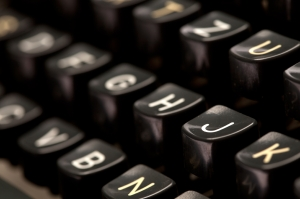 Close up of vintage typewriter machine